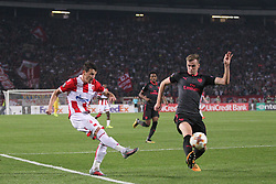 Slavoljub Srnic of Crvena Zvezda vs Rob Holding of Arsenal  during football match between NK Crvena Zvezda Beograd and Arsenal FC in Group H of UEFA Europa League 2017/18, on October 19, 2017 in Stadion Rajko Mitic, Belgrade, Serbia. Photo by Marko Metlas / Sportida