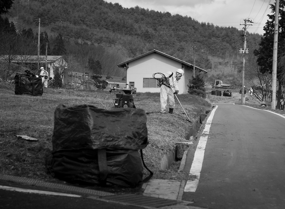 Nagadoro  a small hamlet in the  village of Iitate, Fukushima early  Decontamination efforts 4/24/2012 Nagadoro one a towns originally designated as a evacuation point became one of the most heavily contaminated areas in Fukushima even though it was outside of the  20km  No go zone, receiving a blanked of cesium  contaminated snow during the  fires in Fukushima Daiichi NPS, Now  designated as a zone where residents may never be allow to return.