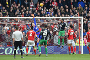 Nottingham Forest goalkeeper Dorus de Vries pushes the ball over the bar during the Sky Bet Championship match between Nottingham Forest and Bristol City at the City Ground, Nottingham, England on 27 February 2016. Photo by Jon Hobley.