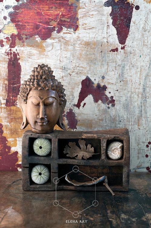 Beautiful wood buddha and natural objects.