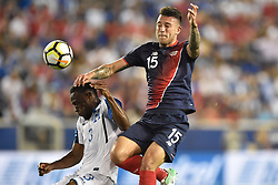 July 7, 2017 - Harrison, New Jersey, U.S - Costa Rica defender FRANCISCO CALVO (15) and Honduras defender MAYNOR FIGUEROA (3) fight for a high ball during CONCACAF Gold Cup 2017 action at Red Bull Arena in Harrison New Jersey Costa Rica defeats Honduras 1 to 0. (Credit Image: © Brooks Von Arx via ZUMA Wire)