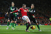 Wayne Rooney of Manchester United on the ball during the Barclays Premier League match between Manchester United and Stoke City at Old Trafford, Manchester, England on 2 February 2016. Photo by Phil Duncan.