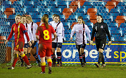 NEWTOWN, WALES - Friday, February 1, 2013: Wales' goalkeeper Alice Evans looks dejected as Norway score the second goal during the Women's Under-19 International Friendly match at Latham Park. (Pic by David Rawcliffe/Propaganda)