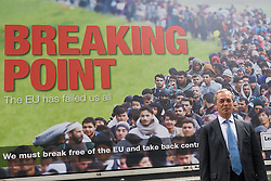 "Smith Square, Westminster, London, June 16th 2016. UKIP leader Nigel Farage launches his ""biggest ever"" advertising campaign as Leave and Remain enter their last week of campaigning before the EU referendum on June 23rd. PICTURED: Nigel Farage poses for the media in front of his new anti-immigration billboard that claims the UK is at breaking point."