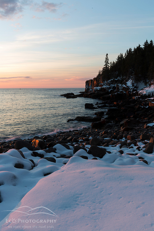 Winter's dawn in Maine's Acadia National Park. Boulder Beach.