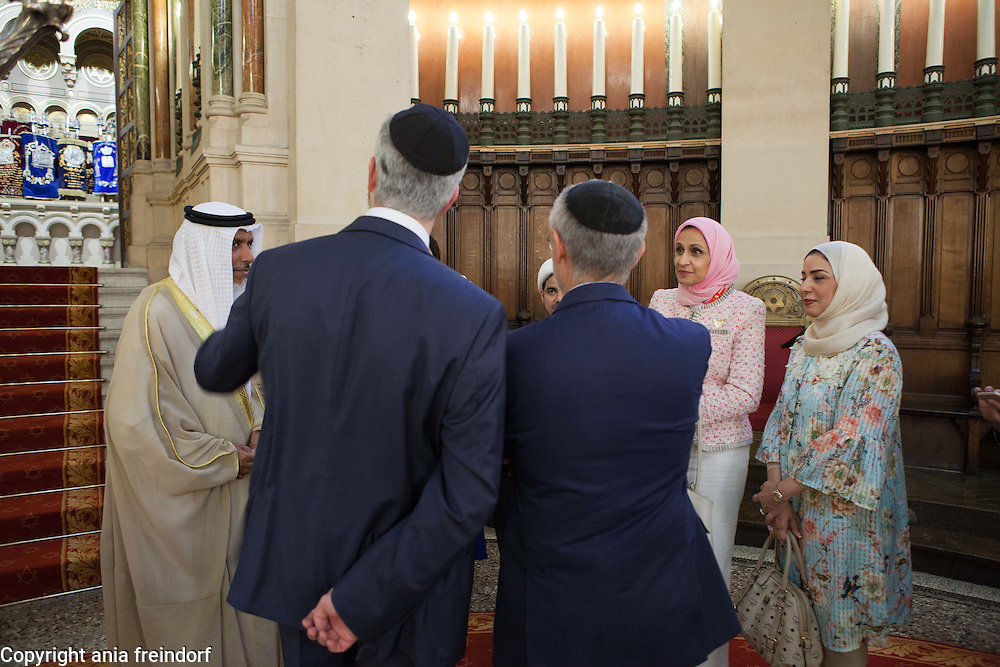 France, Paris, &quot;This is Bahrain&quot; religious freedom delegation visits the Synagogue. (R ) Muslim cleric Sheikh Salah bin Yousuf Aljowder, Rabbi Moshe Sebbag, Betsy B.Mathieson, Secretary General of Bahrain Federation of Expatraite Associations, Shaikh Dr. Abdulla AlMaqabi,  Afnan Rashid Al Zayani, ctivist and multi-million-dollar company CEO and president of Al Zayani Commercial Services, Fawzia Abdulla Zainal, reporter, social activist and a politician, from &quot;This is Bahrain&quot;, delegation, a multi-faith group of Bahrainis and expatriates, set up to highlight religious tolerance in Bahrain and promote understanding between cultures and faiths, is the brainchild of the Bahrain Federation of Expatriate Associations (BFEA).<br /> Paris, FRANCE - 16/06/2015.