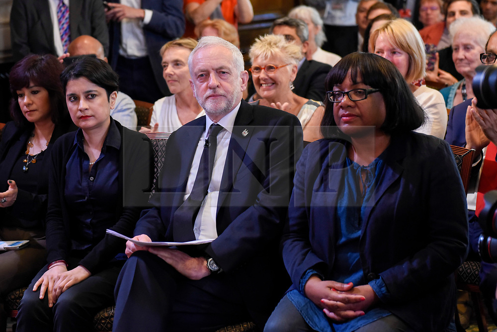 © Licensed to London News Pictures. 26/05/2017. London, UK. (L to R) Shami Chakrabarti, Jeremy Corbyn, Leader of the Labour party, and Diane Abbott ahead of Jeremy Corbyn giving a speech on democracy in central London, in solidarity with the victims of the terrorist attack in Manchester.  Photo credit : Stephen Chung/LNP