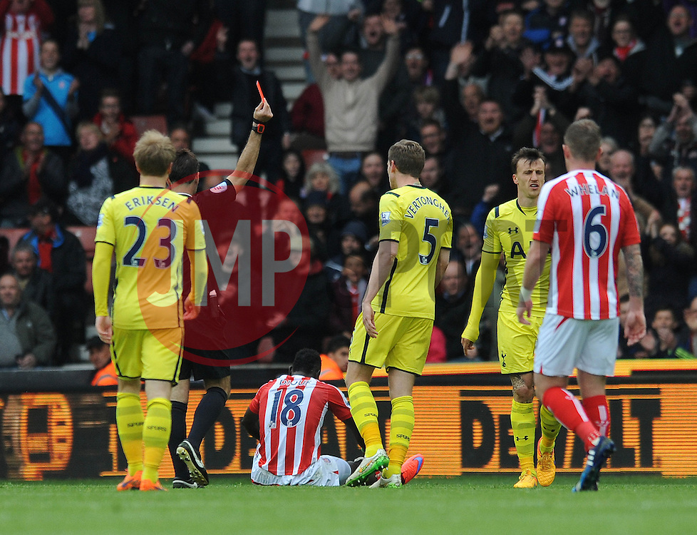 Tottenham Hotspur's Vlad Chiriches receives a red card - Photo mandatory by-line: Dougie Allward/JMP - Mobile: 07966 386802 - 09/05/2015 - SPORT - Football - Stoke - Britannia Stadium<br />  - Stoke v Tottenham Hotspur - Barclays Premier League