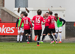 Dunfermline's Nicky Clarke (37) celebrates after scoring their goal. Half time : Dunfermline 1 v 0 Falkirk, Scottish Championship game played 22/4/2017 at Dunfermline's home ground, East End Park.