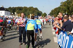 Borut Bozic replacing bike during the Men's Elite Road Race at the UCI Road World Championships on September 25, 2011 in Copenhagen, Denmark. (Photo by Marjan Kelner / Sportida Photo Agency)