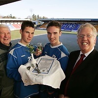 St Johnstone FC Sportsman's Dinner sponsored by Bank of Scotland.   Pictured from left to right, Tommy Campbell, St Johnstone Youth Development Manager, Kevin Moon, Neil McCallum and Bill Kowbell from Bank of Scotland<br />Picture by Graeme Hart.<br />Copyright Perthshire Picture Agency<br />Tel: 01738 623350  Mobile: 07990 594431