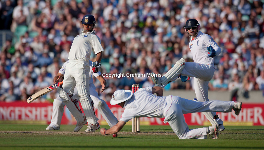 Suresh Raina is not caught by Andrew Strauss as wicket keeper Matt Prior looks on during the fourth and final npower Test Match between England and India at the Oval, London.  Photo: Graham Morris