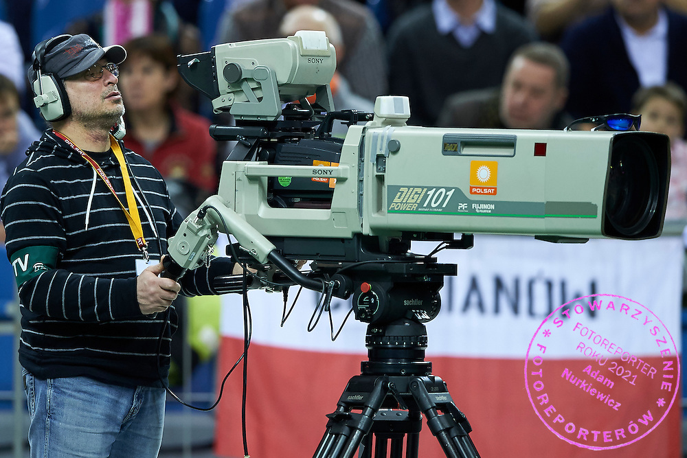 Cameraman TV Polsat official broadcaster during Second Day of the Fed Cup / World Group 1st round tennis match between Poland and Russia at Tauron Krakow Arena on February 8, 2015 in Cracow, Poland.<br /> <br /> Poland, Cracow, February 8, 2015<br /> <br /> Picture also available in RAW (NEF) or TIFF format on special request.<br /> <br /> For editorial use only. Any commercial or promotional use requires permission.<br /> <br /> Adam Nurkiewicz declares that he has no rights to the image of people at the photographs of his authorship.<br /> <br /> Mandatory credit:<br /> Photo by &copy; Adam Nurkiewicz / Mediasport