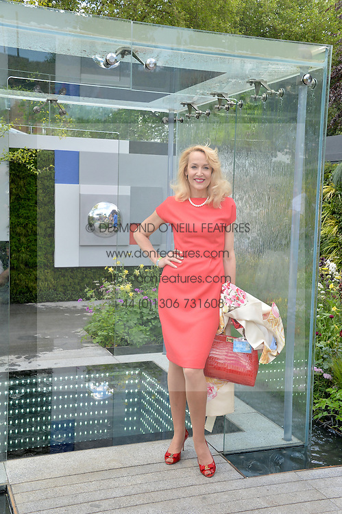 JERRY HALL at the 2014 RHS Chelsea Flower Show held at the Royal Hospital Chelsea, London on 19th May 2014.