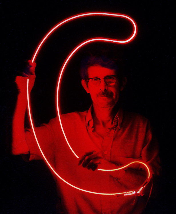 Portrait of a neon sign maker