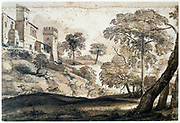 The Deer Hunt', Pencil, ink  and brown wash on paper. Claude (c1604-1682  - Claude Gellee also Claude Lorrain) French painter.  Landscape Castle Tree