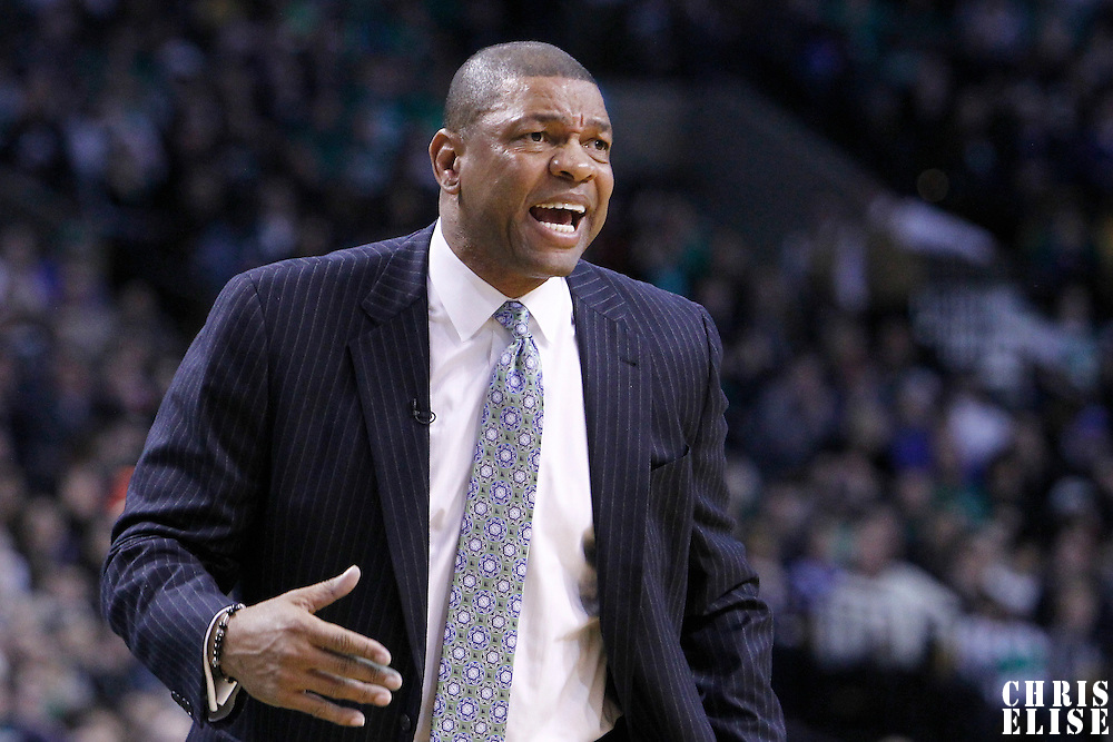 04 March 2012: Boston Celtics head coach Doc Rivers is seen during the Boston Celtics 115-111 (OT) victory over the New York Knicks at the TD Garden, Boston, Massachusetts, USA.