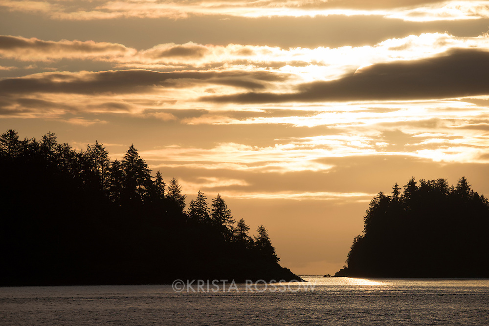 Sunrise in the harbor of Queen Charlotte City on the island of Haida Gwaii in British Columbia, Canada.