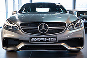 Mercedes-AMG E63 AMG V8 biturbo saloon car in Mercedes-AMG showroom and gallery in Stuttgart, Bavaria, Germany