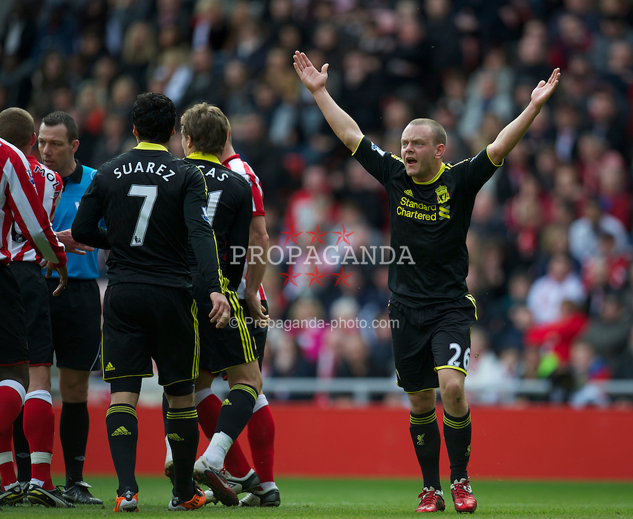 SUNDERLAND, ENGLAND - Sunday, March 20, 2011: Liverpool's Jay Spearing appeals for a penalty during the Premiership match against Sunderland at the Stadium of Light. (Photo by David Rawcliffe/Propaganda)