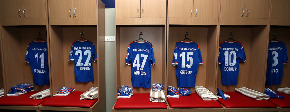 Dressing room of FC Goa before the start of the match 9 of the Indian Super League (ISL) season 2  between FC Goa and Chennaiyin FC held at the Jawaharlal Nehru Stadium, Fatorda, Goa, India on the 11th October 2015.<br /> <br /> Photo by Sandeep Shetty / ISL/ SPORTZPICS