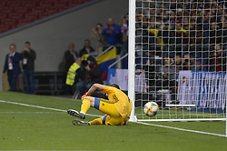March 22, 2019 - Madrid, Madrid, Spain - Franco Armani goalkeeper of Argentina during the third goal of Venezuela during the Friendly football match between Argentina and Venezuela at Wanda Metropolitano Stadium in 22 March 2019, Madrid, Spain, preparatory for the Copa América Brazil 2019 to be played from June 14 to July 7. (Credit Image: © Patricio Realpe/NurPhoto via ZUMA Press)