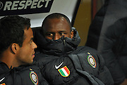 Partick Vieira stays warm on the bench. 20th Oct 2009.