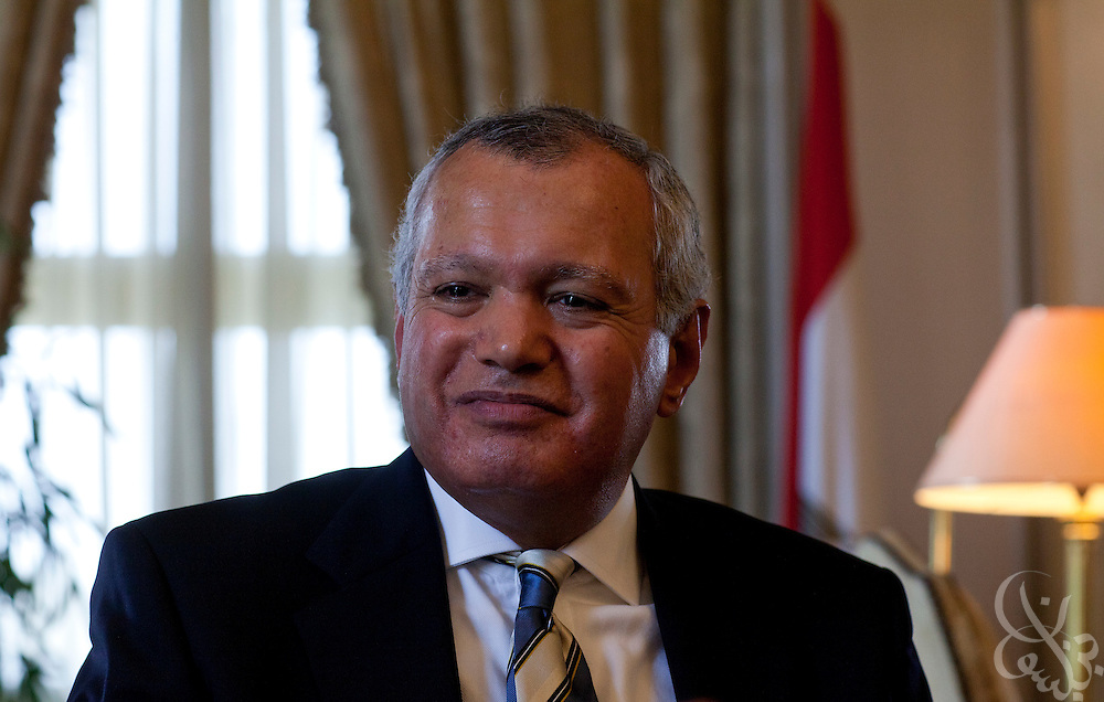 Egyptian Foreign Minister Mohamed El-Orabi discusses the ongoing revolution and Egypt's foreign policy with reporters for an exclusive interview July 13, 2011 at his office  in the Egyptian Foreign Ministry building in central Cairo, Egypt.  (Photo by Scott Nelson/Der Spiegel)