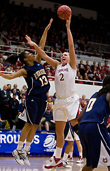 March 20, 2010; Stanford, CA, USA; Stanford Cardinal forward/center Jayne Appel (2) shoots over UC Riverside Highlanders forward Marissa Rivera (13) during the first half in the first round of the 2010 NCAA womens basketball tournament at Maples Pavilion.  Stanford defeated UC Riverside 79-47.
