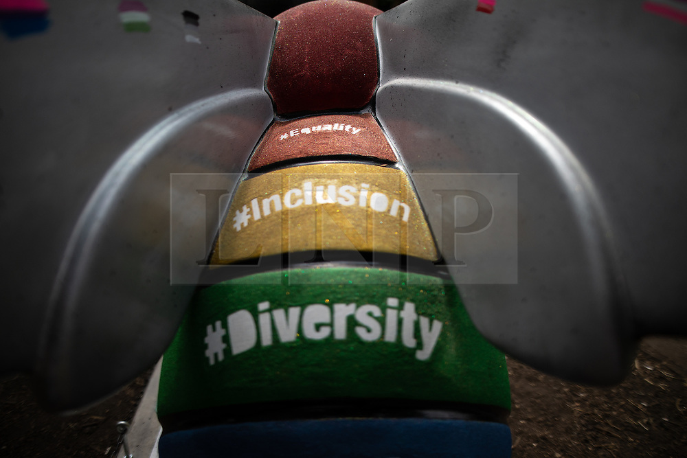 "© Licensed to London News Pictures . 26/07/2018. Manchester , UK . "" The LGBTQ+ Queen Bee "" designed by CJTaylord Art and Ben Sedman . Bee in the City sculpture in Sackville Park in Manchester Gay Village. Over 100 bee sculptures , decorated and painted by different artists , have been placed across Manchester City Centre . The worker bee is Manchester's symbol , reflecting the City's heritage as the home of the industrial revolution . Photo credit : Joel Goodman/LNP"