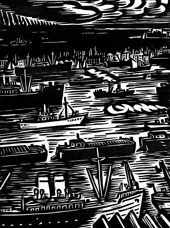 A black / white drawing of the busy ship traffic in and around the port