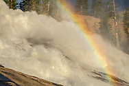 Waterwheels and rainbow in LeConte Falls, Tuolumne River, Yosemite National Park, California