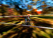 A cyclist races through the course during the Men's Elite Race at the 2007 Verge Mid-Atlantic Championship Cyclo-Cross Series Round 5 held at Thompson Park in Jamesburg, New Jersey on November 11, 2007.