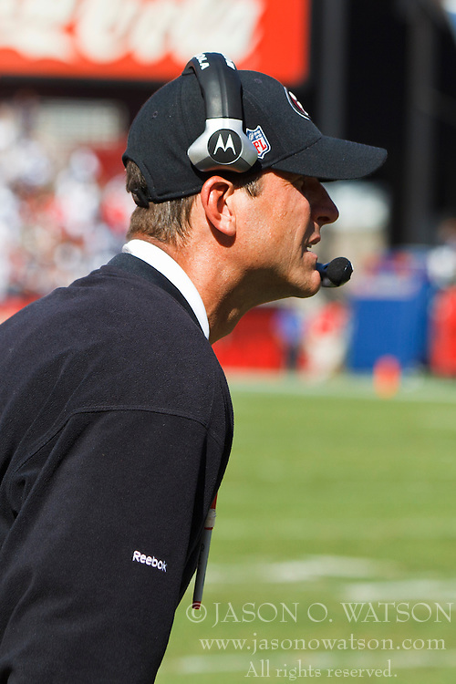 September 18, 2011; San Francisco, CA, USA; San Francisco 49ers head coach Jim Harbaugh on the sidelines against the Dallas Cowboys during the third quarter at Candlestick Park.  Dallas defeated San Francisco 27-24 in overtime.