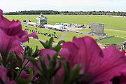 A general view of The Knavesmire including the old Clock Tower prior to Day 3 of the Ebor Festival at York Racecourse, York, United Kingdom on 23 August 2019.
