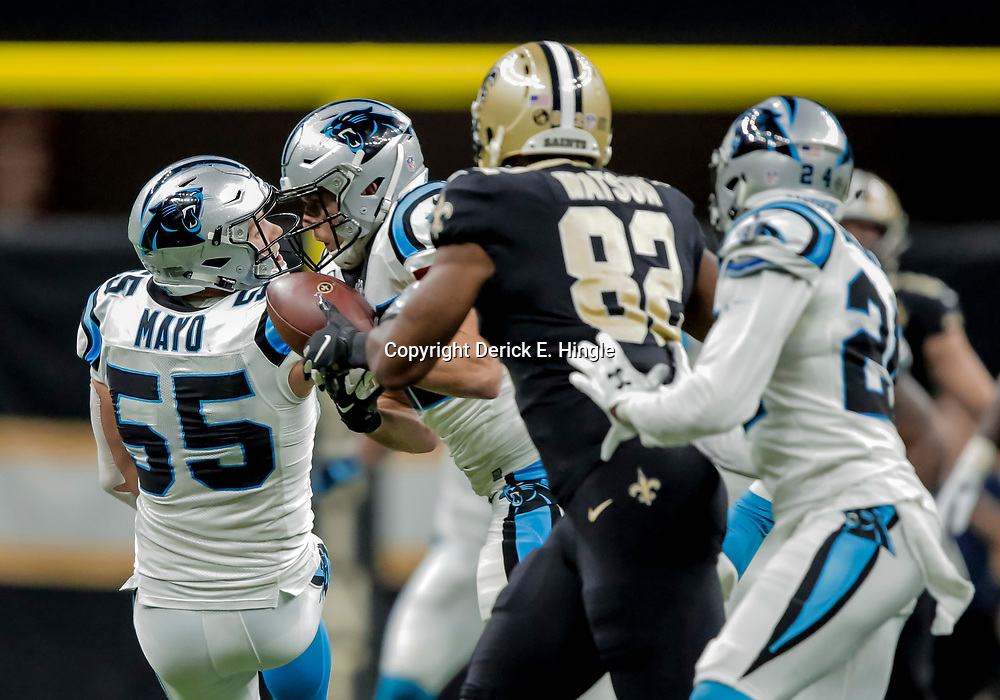 Dec 30, 2018; New Orleans, LA, USA; Carolina Panthers safety Colin Jones (42) intercepts a pass intended for New Orleans Saints tight end Benjamin Watson (82) during the fourth quarter at the Mercedes-Benz Superdome. Mandatory Credit: Derick E. Hingle-USA TODAY Sports