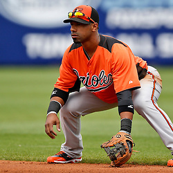 Mar 2, 2013; Port Charlotte, FL, USA; Baltimore Orioles second baseman Alexi Casilla (12) during a spring training game against the Tampa Bay Rays at Charlotte Sports Park. Mandatory Credit: Derick E. Hingle-USA TODAY Sports