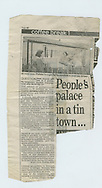 Prefab, prefabrication, temporary homes, houses, house, world war, world war 2, WW2, news, newspaper, clipping, cutting, scrap-booking, London, UK, Tin town, archive, archival,