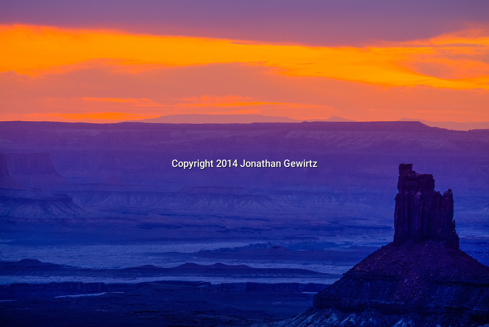 Twilight over the desert landscape at Canyonlands National Park, Utah.<br />
