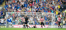 CARDIFF, WALES - Sunday, August 8, 2010: Cardiff City's Jay Bothroyd turns to celebrate scoring the equalising goal against Sheffield United during the League Championship match at the Cardiff City Stadium. (Pic by: David Rawcliffe/Propaganda)