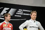 April 15-17, 2016: Chinese Grand Prix, Shanghai, Nico Rosberg  (GER), Mercedes , Sebastian Vettel (GER), Ferrari