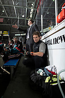 KELOWNA, CANADA - DECEMBER 1:  Kelowna Rockets' athletic therapist kneels on the bench against the Saskatoon Blades on December 1, 2018 at Prospera Place in Kelowna, British Columbia, Canada.  (Photo by Marissa Baecker/Shoot the Breeze)