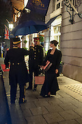 LILY ROBINSON , LEAVING THE RITZ TRYING TO CATCH A TAXI, Tatler magazine Jubilee party with Thomas Pink. The Ritz, Piccadilly. London. 2 May 2012