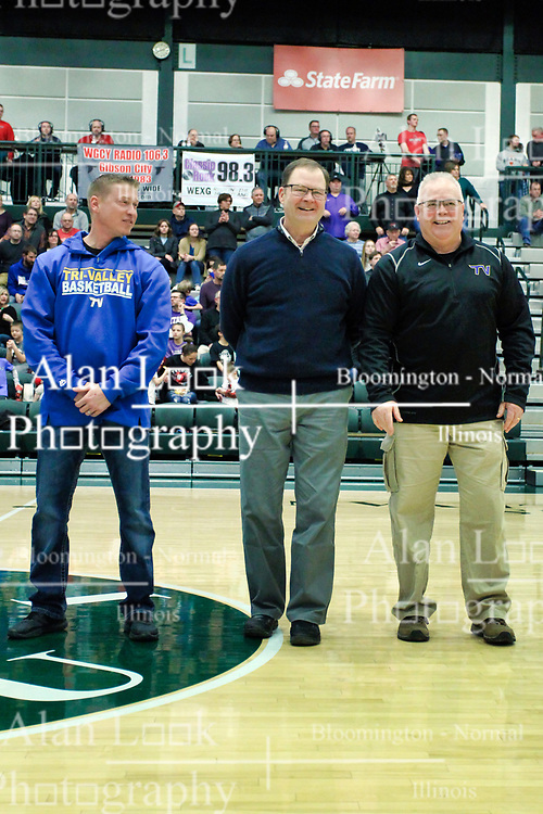 26 January 2019: Recognition of the IBCA Organization of they Year award during the McLean County Tournament at Shirk Center in Bloomington Illinois<br /> <br /> Troy Hall, Brain Schaumberg, Robin Roberts