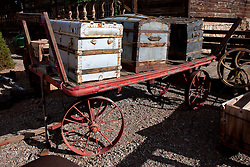 Old rail cart with chests on top, Calico Ghost Town, Calico, California, United States of America