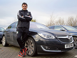 CARDIFF, WALES - Wednesday, November 11, 2015: Wales' manager Chris Coleman with a Vauxhall Insignia car. (Pic by David Rawcliffe/Propaganda)