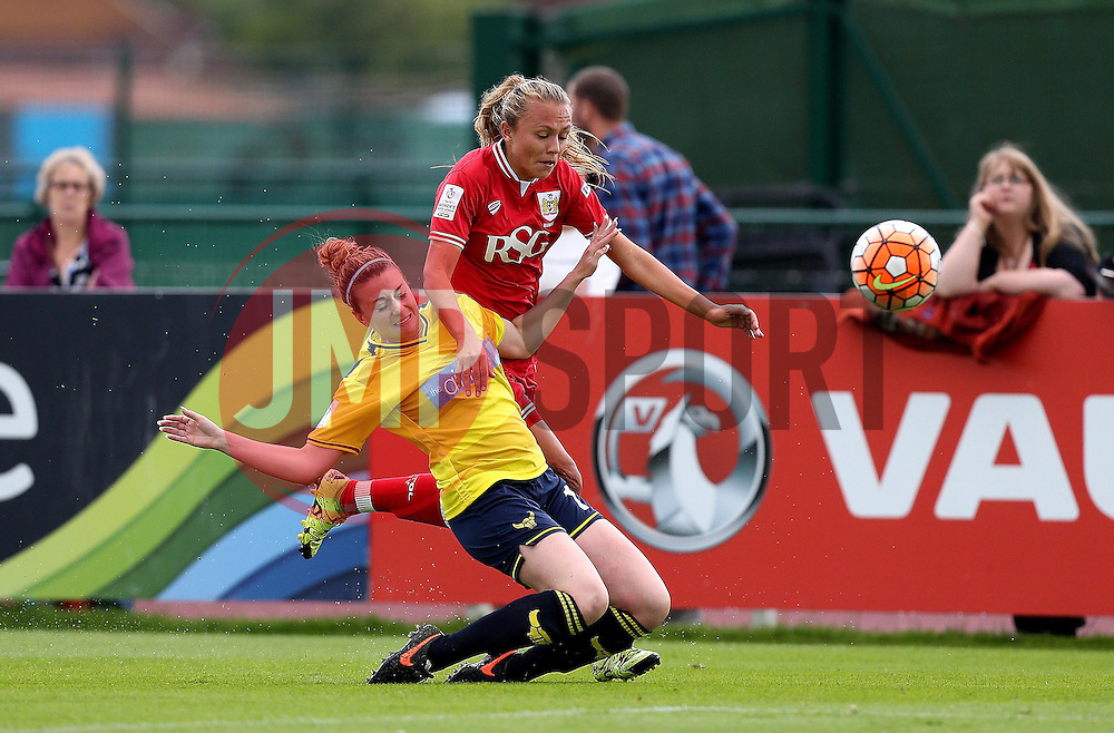 Rosella Ayane of Bristol City Women is tackled by Madi Lee of Oxford United - Mandatory by-line: Robbie Stephenson/JMP - 25/06/2016 - FOOTBALL - Stoke Gifford Stadium - Bristol, England - Bristol City Women v Oxford United Women - FA Women's Super League 2