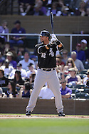 SCOTTSDALE, AZ - MARCH 11:  A.J. Pierzynski #12 of Chicago White Sox bats against the Colorado Rockies on March 11, 2012 at Salt River Fields at Talking Stick, Scottsdale, Arizona. The Rockies defeated the White Sox 5-2.  (Photo by Ron Vesely)  Subject:  A.J. Pierzynski