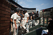 San Francisco Giants starting pitcher Madison Bumgarner (40) receives high fives in the dugout after hitting a solo home run against the St. Louis Cardinals at AT&T Park in San Francisco, California, on September 3, 2017. (Stan Olszewski/Special to S.F. Examiner)