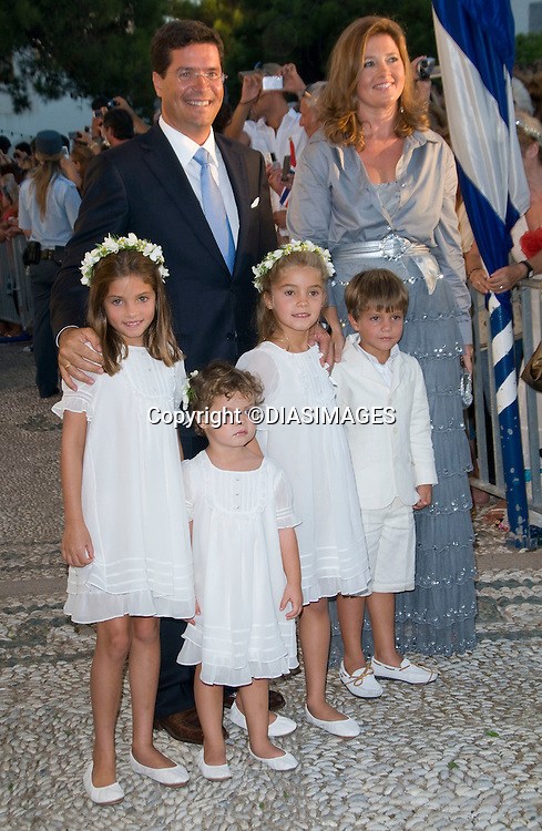 "PRINCE NIKOLAOS AND TATIANA BLATNIK WEDDING_Princess Alexia, Carlos Morales Quintana and Family.St Nikolaos Church, Spetses, Greece_25/08/2010.Mandatory Credit Photo: ©DIASIMAGES..**ALL FEES PAYABLE TO: ""NEWSPIX INTERNATIONAL""**..IMMEDIATE CONFIRMATION OF USAGE REQUIRED:.Newspix International, 31 Chinnery Hill, Bishop's Stortford, ENGLAND CM23 3PS.Tel:+441279 324672  ; Fax: +441279656877.Mobile:  07775681153.e-mail: info@newspixinternational.co.uk"